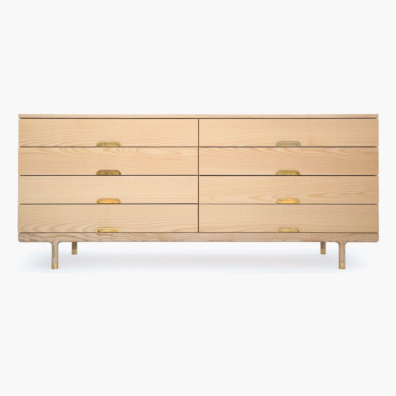 Solid Ash 8-drawer dresser with brass hardware details. Making use ...