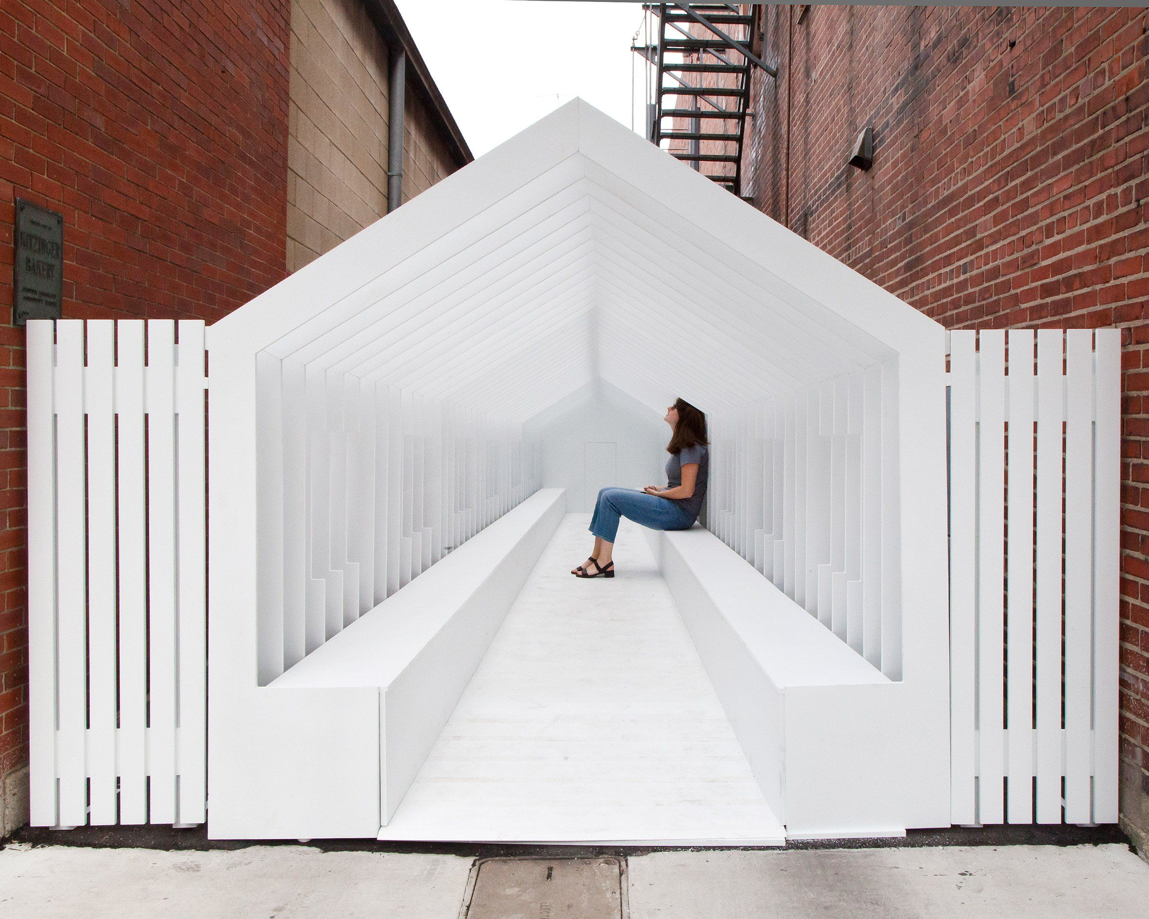 The Series Of Washington Street Installations Was Created For The Exhibit Columbus Festival Which Installation Architecture Temporary Architecture Play Houses