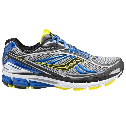 Saucony Omni 12 Running Shoes Grey Blue Yellow At Men