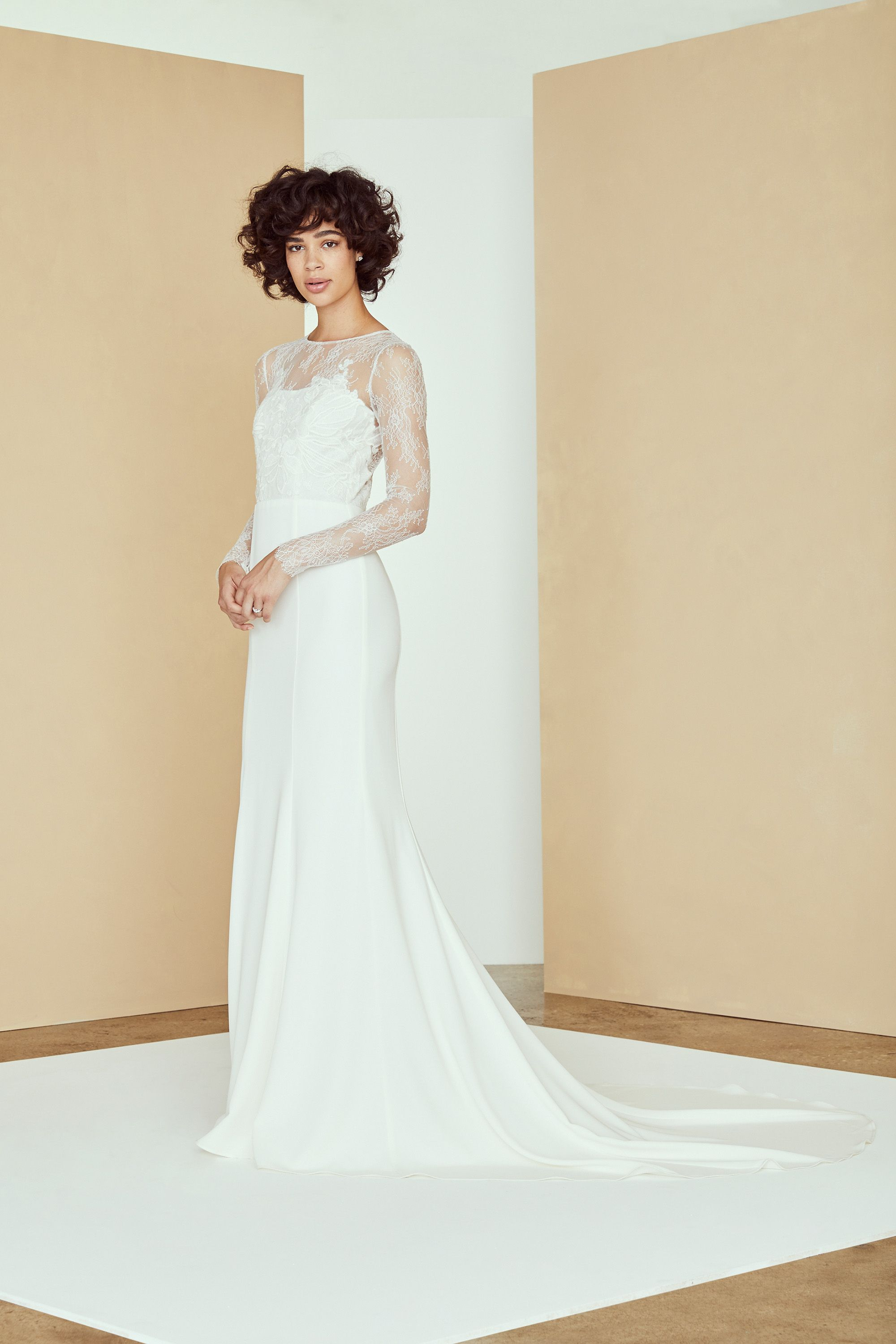Chantilly Lace Long Sleeve Gown With Slim Crepe Skirt And Hand