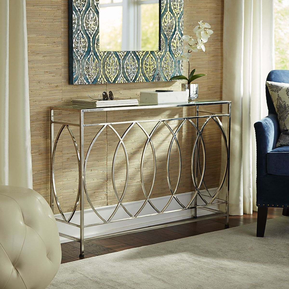 Elana Silver Stainless Steel Console Table | Console tables ...