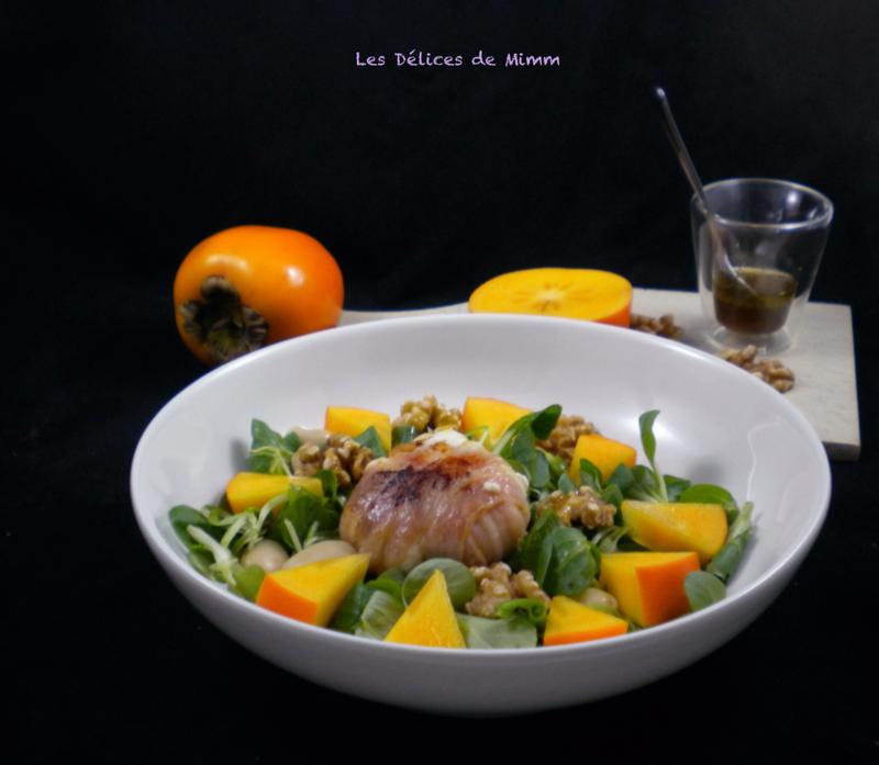 Salade d'automne au fromage de chèvre et kaki - Les Délices de Mimm #saladeautomne