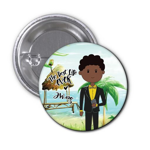 As part of our range of   cute badges that display cartoon renditions of younger brothers and   sisters of different cultures and languages witnessing