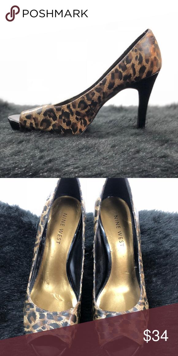 3d5b5d31ebdb Nine West Leopard heels. Gently used, open toe, leopard print 4