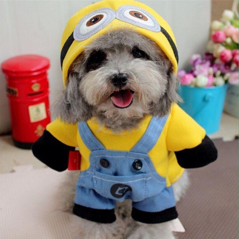 2016 Yellow Minions Pet Dog Clothes Cartoon Dog Coat Cat Clothing
