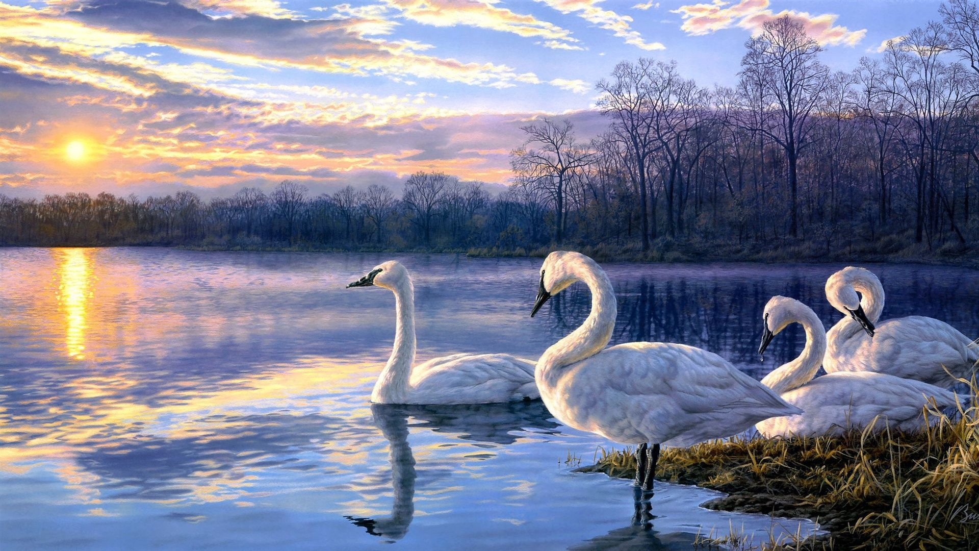 How To Paint Impressionism Water Lake Swans