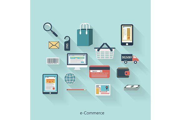 E-Commerce modern concept. UI Elements