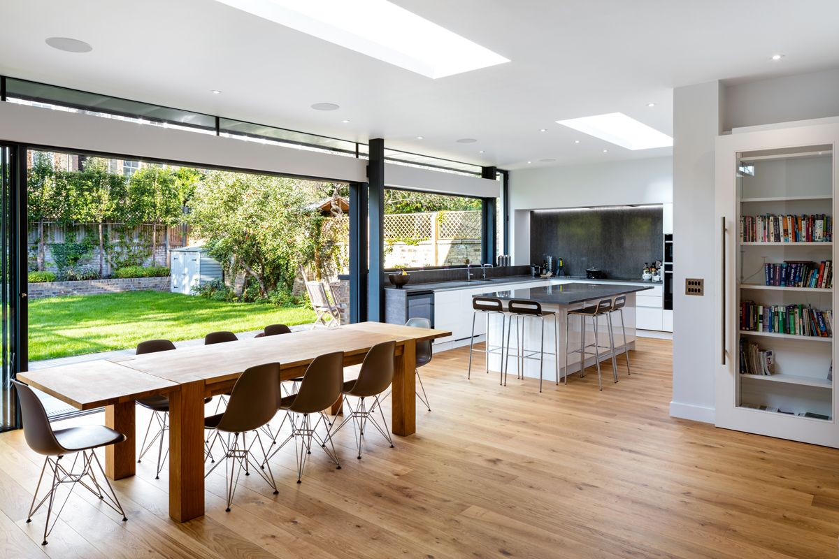 Stunning Glass Kitchen Dining Family Room Extension With Roof Lights In A Conservation Area I Dining Room Furniture Sets Dining Room Small Family Room Design