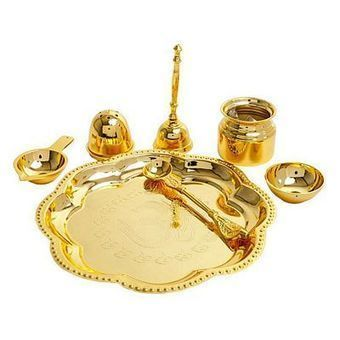 Gold Plated Brass Pooja Thali Set Elite Handicrafts presents very auspicious Pooja thali made from pure  sc 1 st  Pinterest : gold plated pooja set - pezcame.com