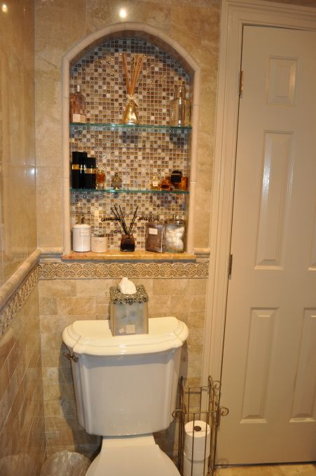 Arched nook above toilet | Tuscan Bathroom | Pinterest
