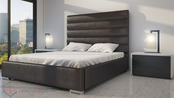 Contemporary Tall Headboard With Horizontal Lines Very Modern Design Bed Interior Fast