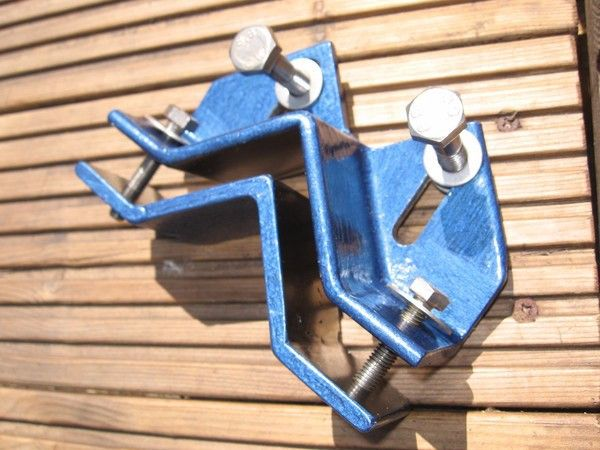 Keats Plate by knoba -- Homemade Keats plate constructed from bar stock, steel plate, bolts, and washers. Used for holding round stock onto a drill press table. http://www.homemadetools.net/homemade-keats-plate