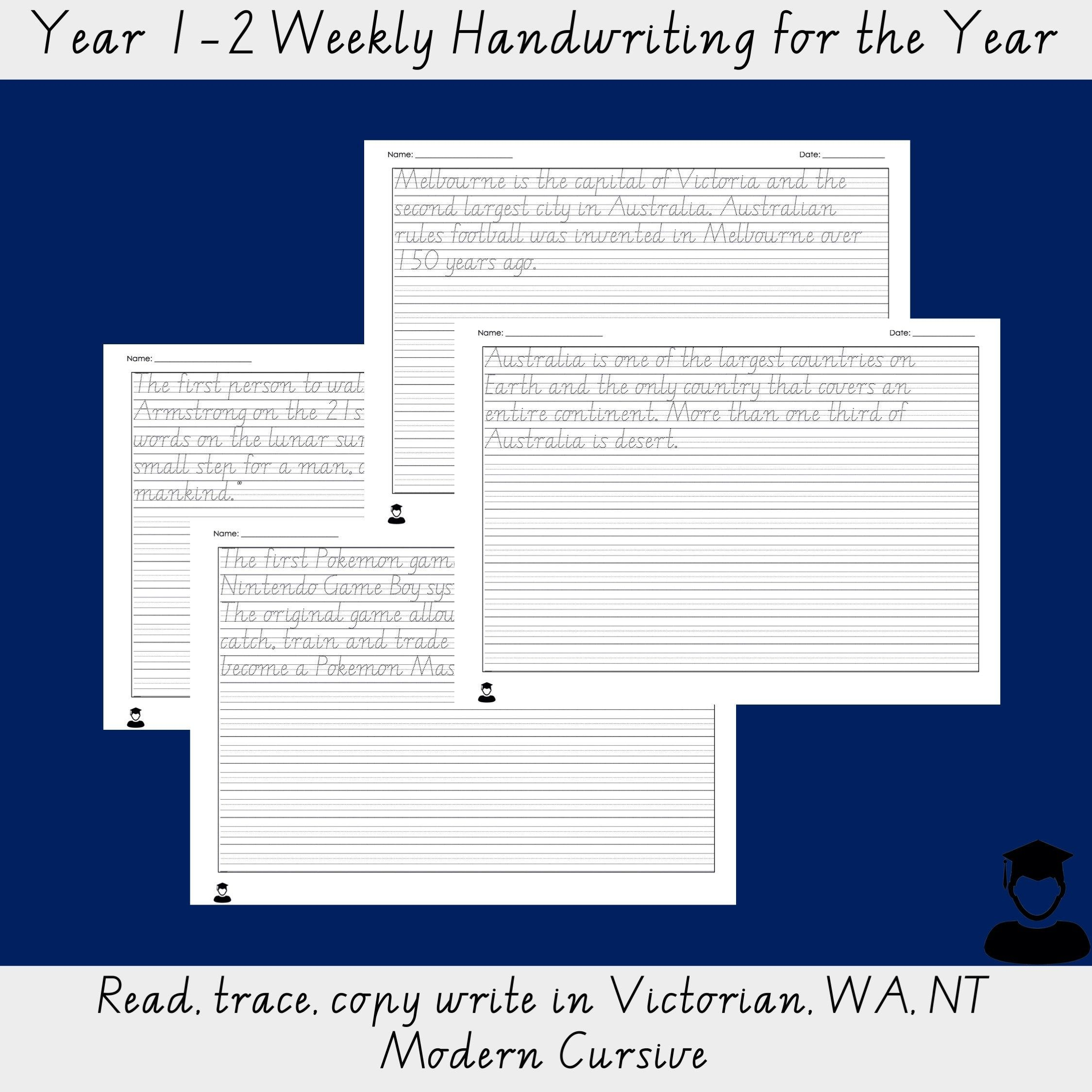 Year 1 2 Weekly Handwriting For The Year Read Trace Copy Write In Vic Wa Nt Font Cursive Handwriting Practice Handwriting Practice Handwriting [ 2249 x 2249 Pixel ]