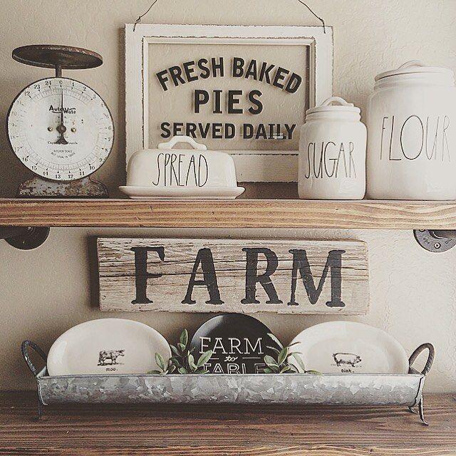 Vintage Farmhouse Kitchen Decor Signs Canisters Farm Ideas