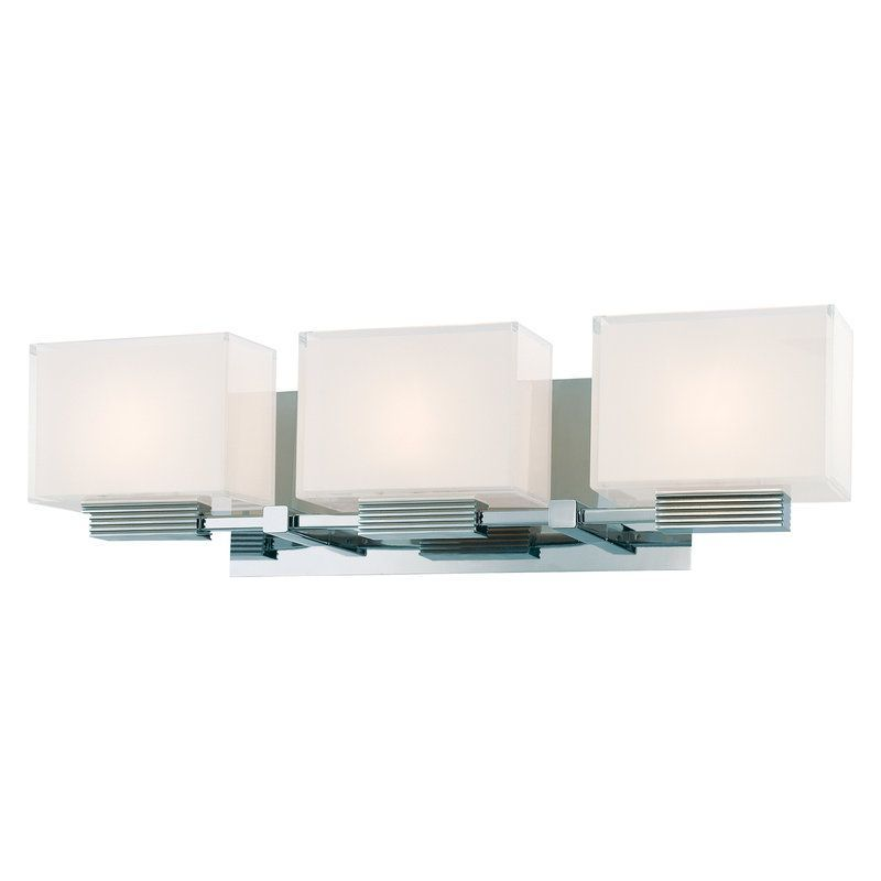 Kovacs P5213 077 Chrome 3 Light Bathroom Fixture From The Cubism Collection