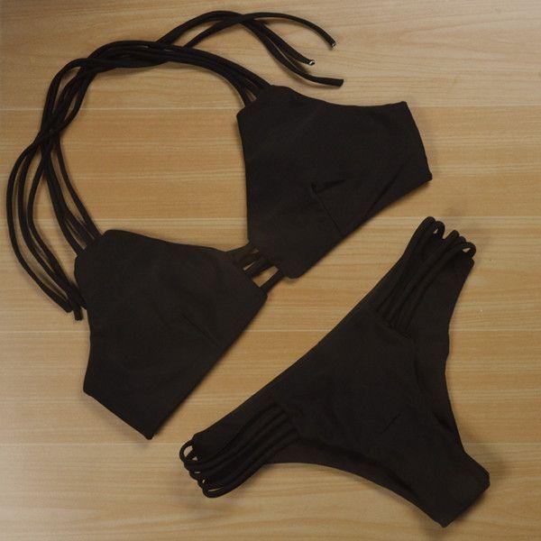 Swimwear Female Bikinis Women Black Sexy Brazilian Thong Bikini Set Retro Push up Swimsuit Woman Tankini Beachwear