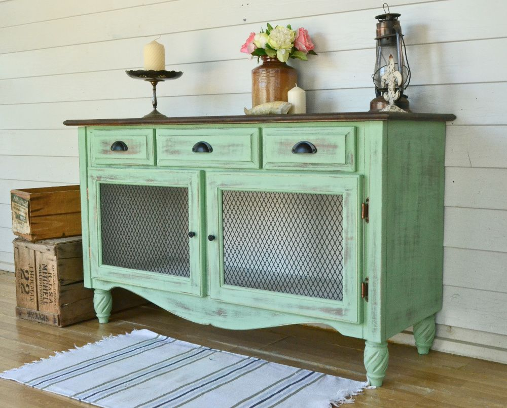 Provincial Rustic Green Distressed Two Door Sideboard with