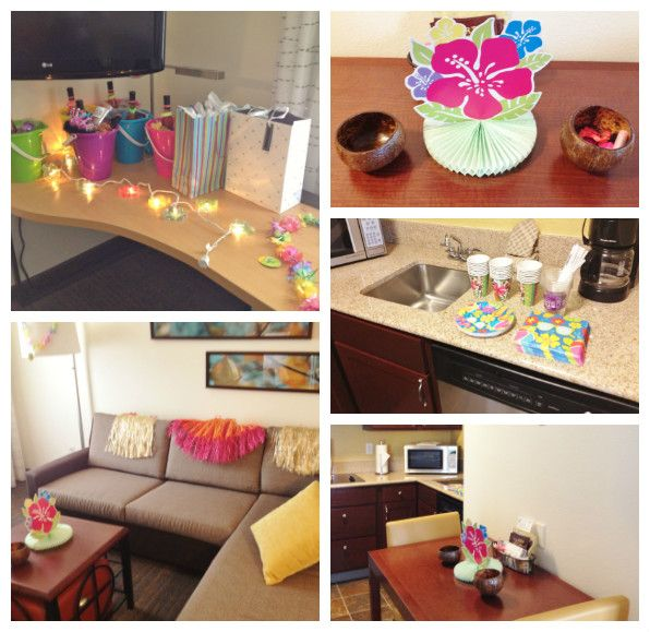 a bachelorette party with a tropical twist decorated hotel room