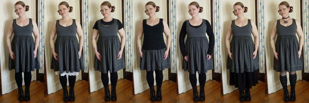 One dress 7 ways - Alabama Chanin dark grey dress | needle arts ...
