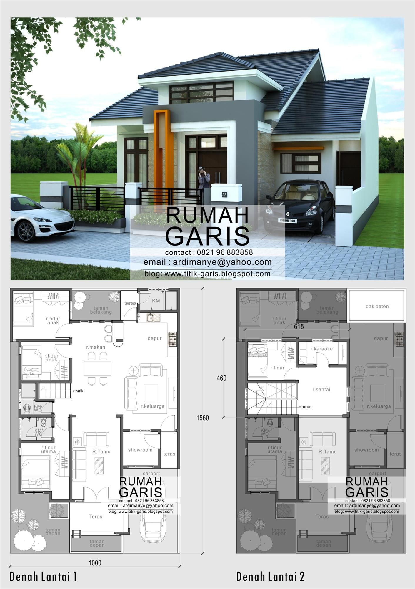 desain model denah dan tampak rumah minimalis 2 lantai di