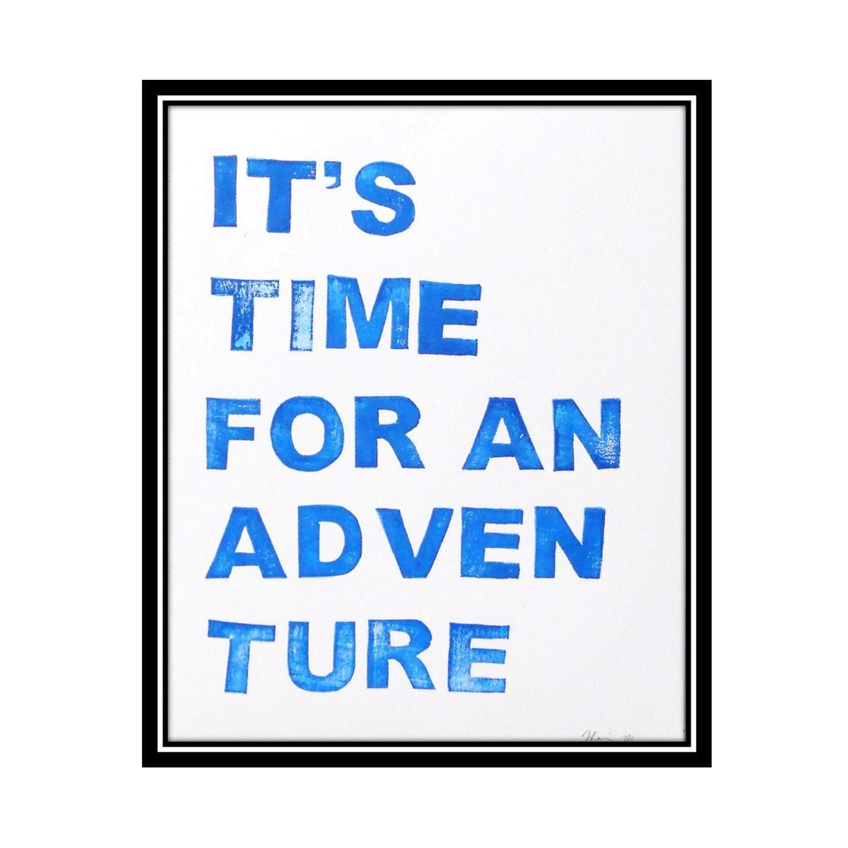 Adventure time block print in bold blue x poster perfect