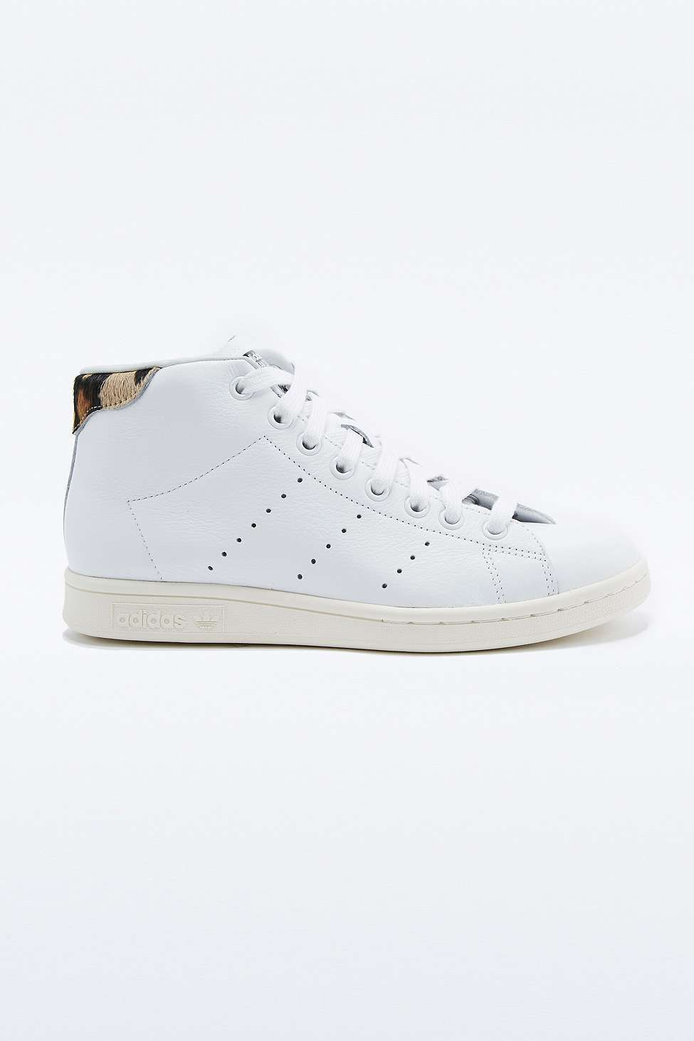 adidas originals white & black stan smith mid top trainers