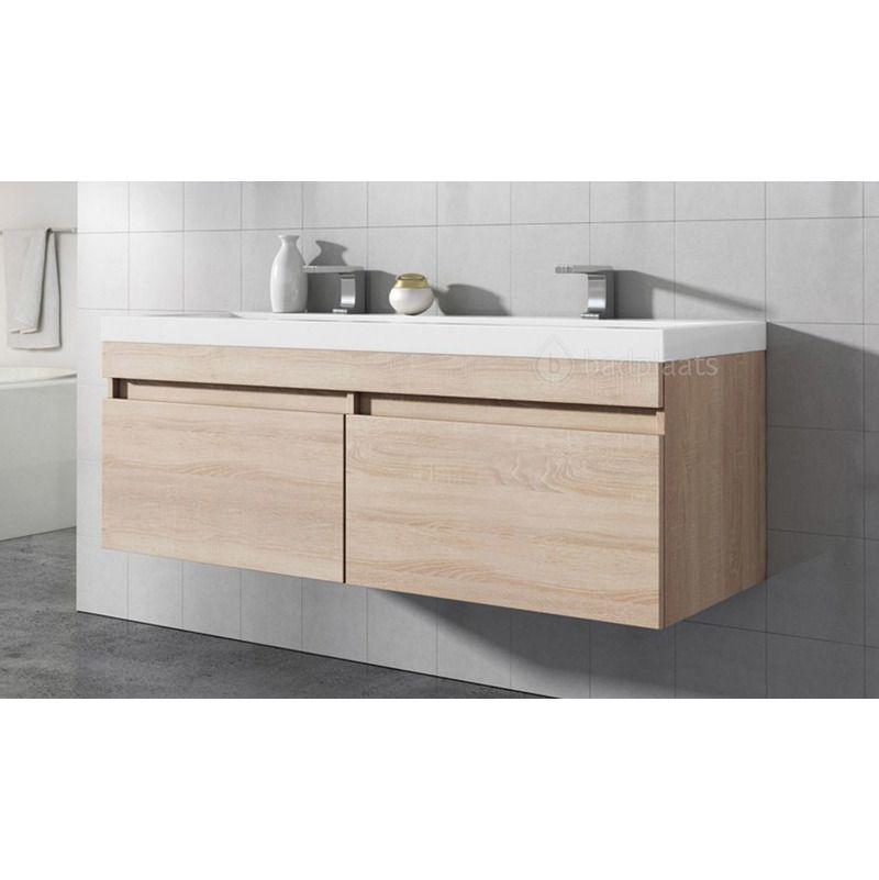 Badezimmer Badmöbel Avellino 120 Cm Eiche Hell   Unterschrank Schrank  Waschbecken Waschtisch   BMTOAVE120LE   Badezimmer