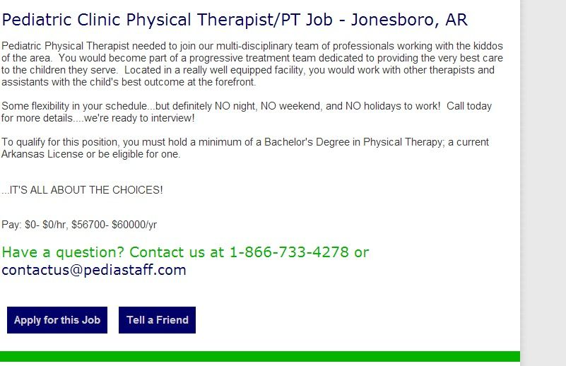 Pediatric Clinic Physical Therapist Pt Job Jonesboro Ar Pediatric