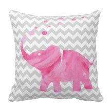 Pink Watercolor Elephant Chevron Pillow