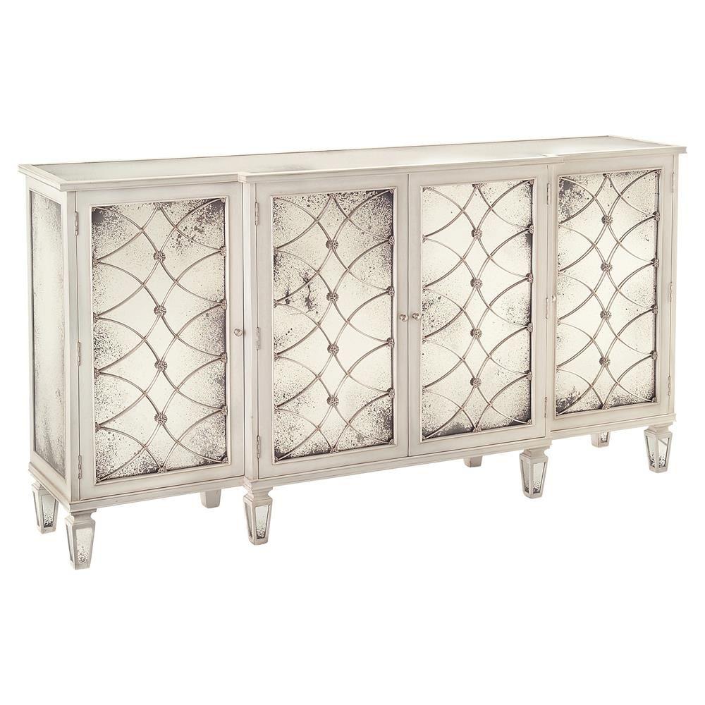 Bonet Hollywood Regency Grillwork Antique White Mirrored Sideboard ...