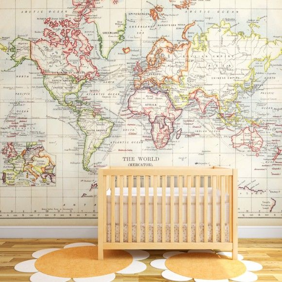 Vintage Old World Map Wall Mural Vintage Map Poster For Kids - World map for kids room