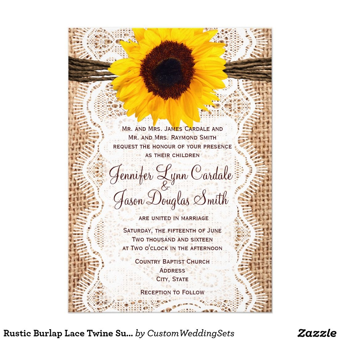 Rustic Burlap Lace Twine Sunflower Wedding Invites Burlap Lace
