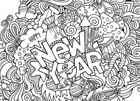 Happy New Year 2021 Coloring Pages New Year Coloring Pages Coloring Pages New Year Doodle