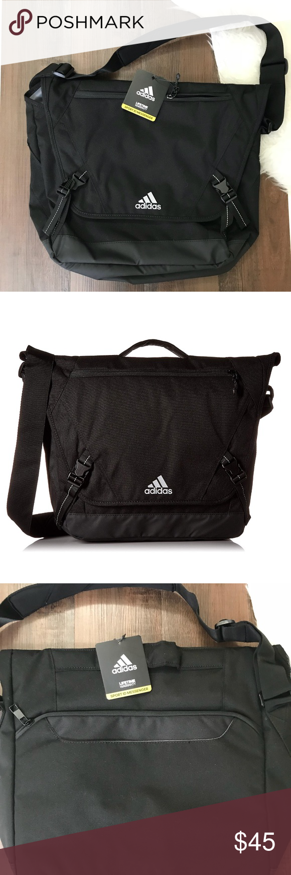 Adidas Sport ID Messenger Bag 100% Polyester 5.5 x 14.5 x 12.5 inches  Lifetime Warranty 976d1918b5690