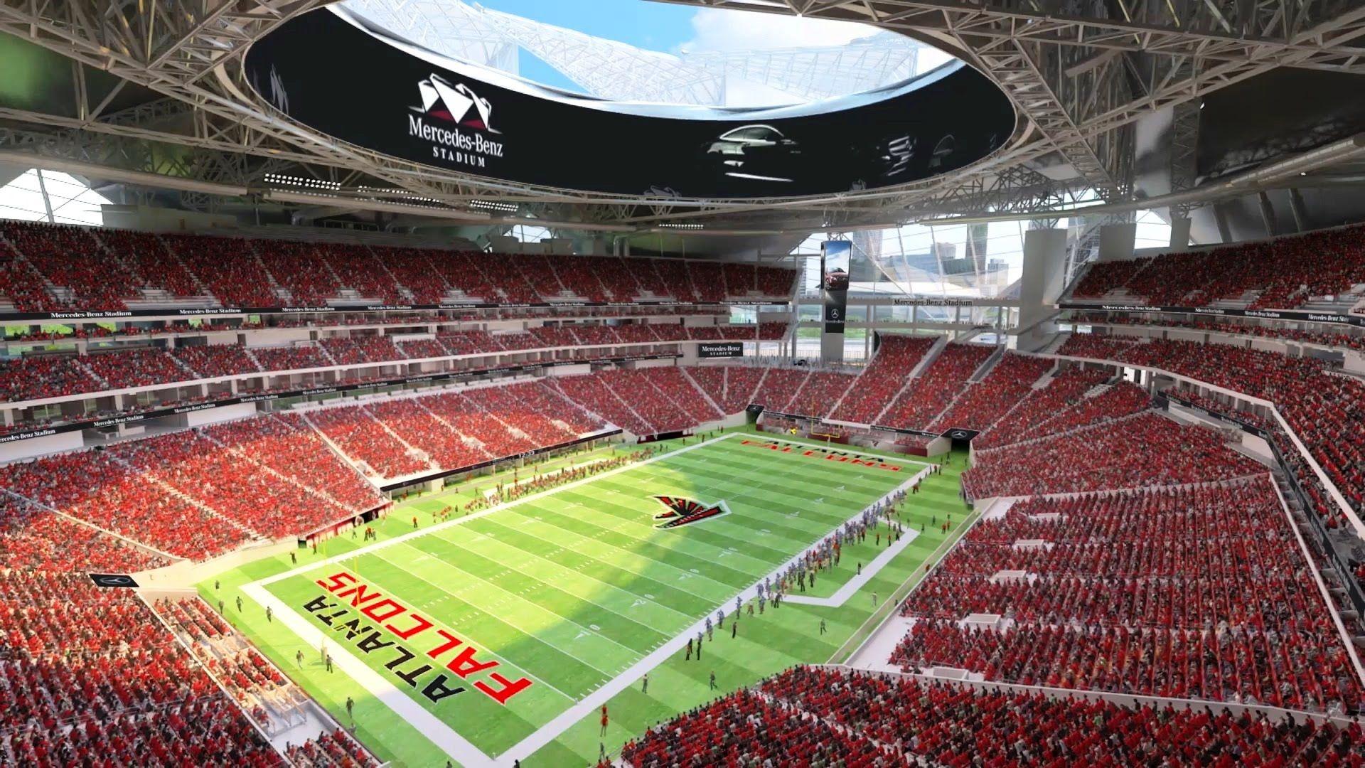 Mercedes Benz Tv The New Mercedes Benz Stadium In Atlanta Atlanta Falcons Football New Atlanta Atlanta Falcons