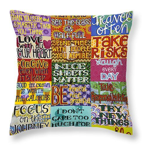 "Rules to live by Throw Pillow 14"" x 14"" #quoteart"
