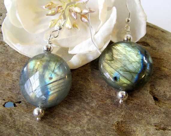 Labradorite Earrings with Sterling Silver Hooks by BellaDivaBeads