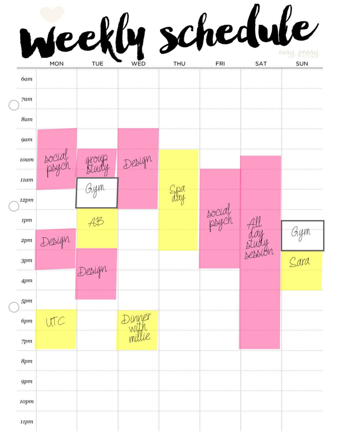 Weekly Schedule Printable Weekly Timetable Ideal Week