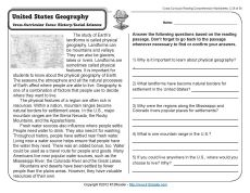 Printables Physical Geography Worksheets united states geography comprehension 3rd grade reading and week 28 an overview of the physical cross curricular focus history social sc