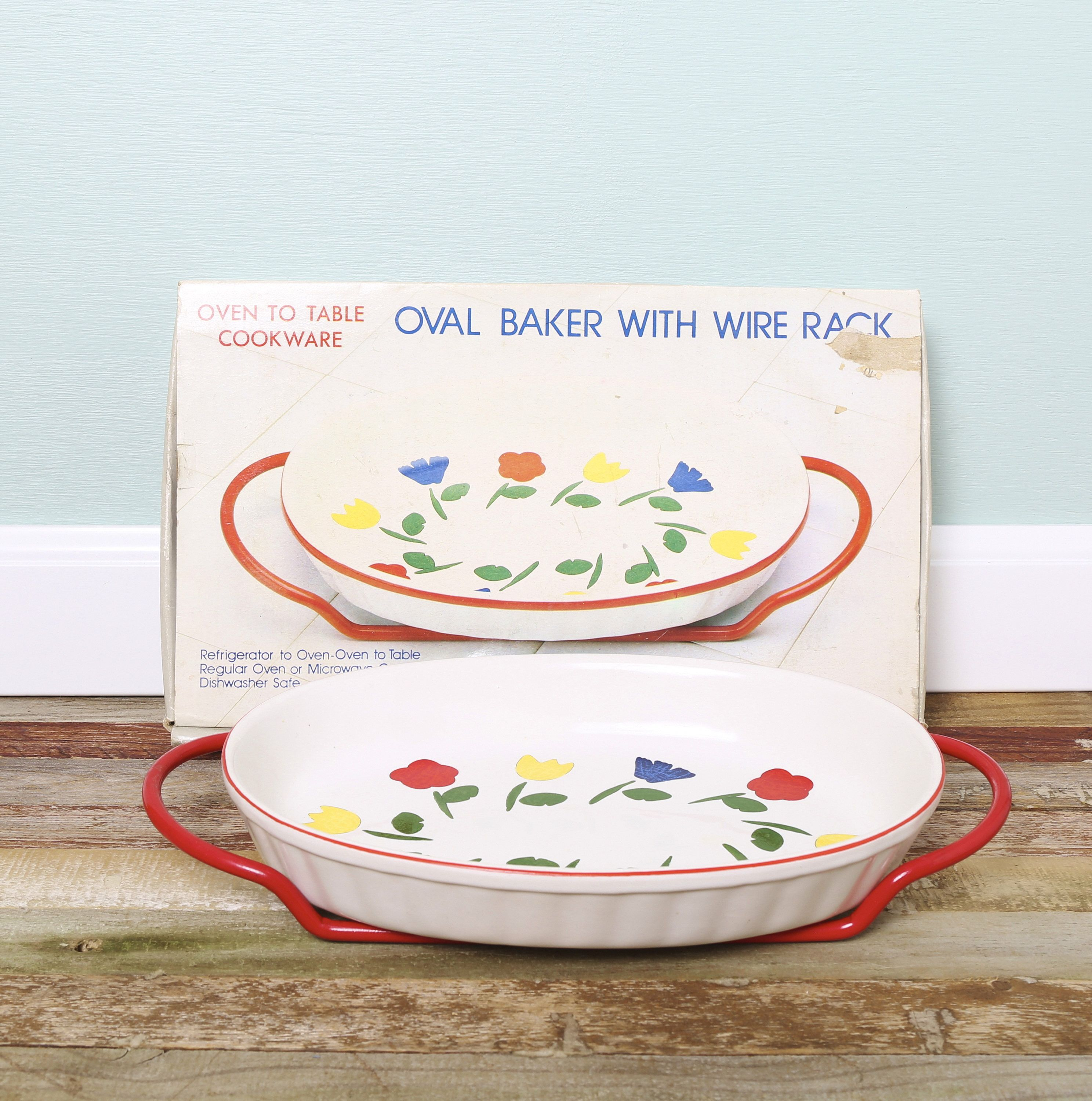 Tulip Oval Serving Baker With Red Wire Rack Oval Casserole Dish Frige Oven  Table Bakeware Cookware Vintage Casserole With Tulips Floral By  MaisieEllens On ...