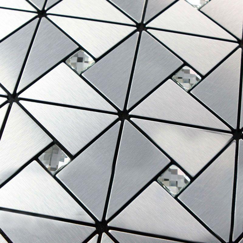 Kitchen Backsplash Tiles Metallic Mosaic Aluminum Plate Diamond Crystal Glass Tile Design Art Discount Bathroom Wall