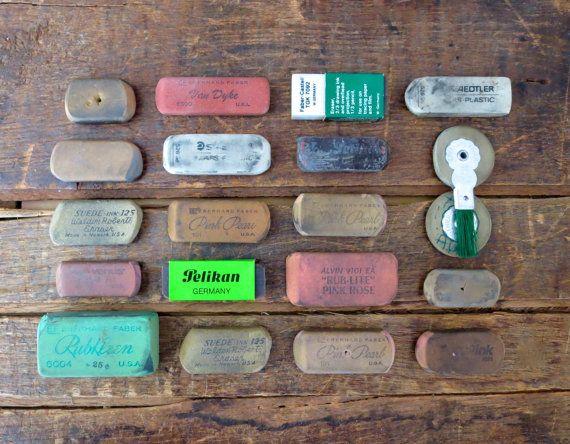 22 vintage erasers old erasers pink pearl eraser faber castell