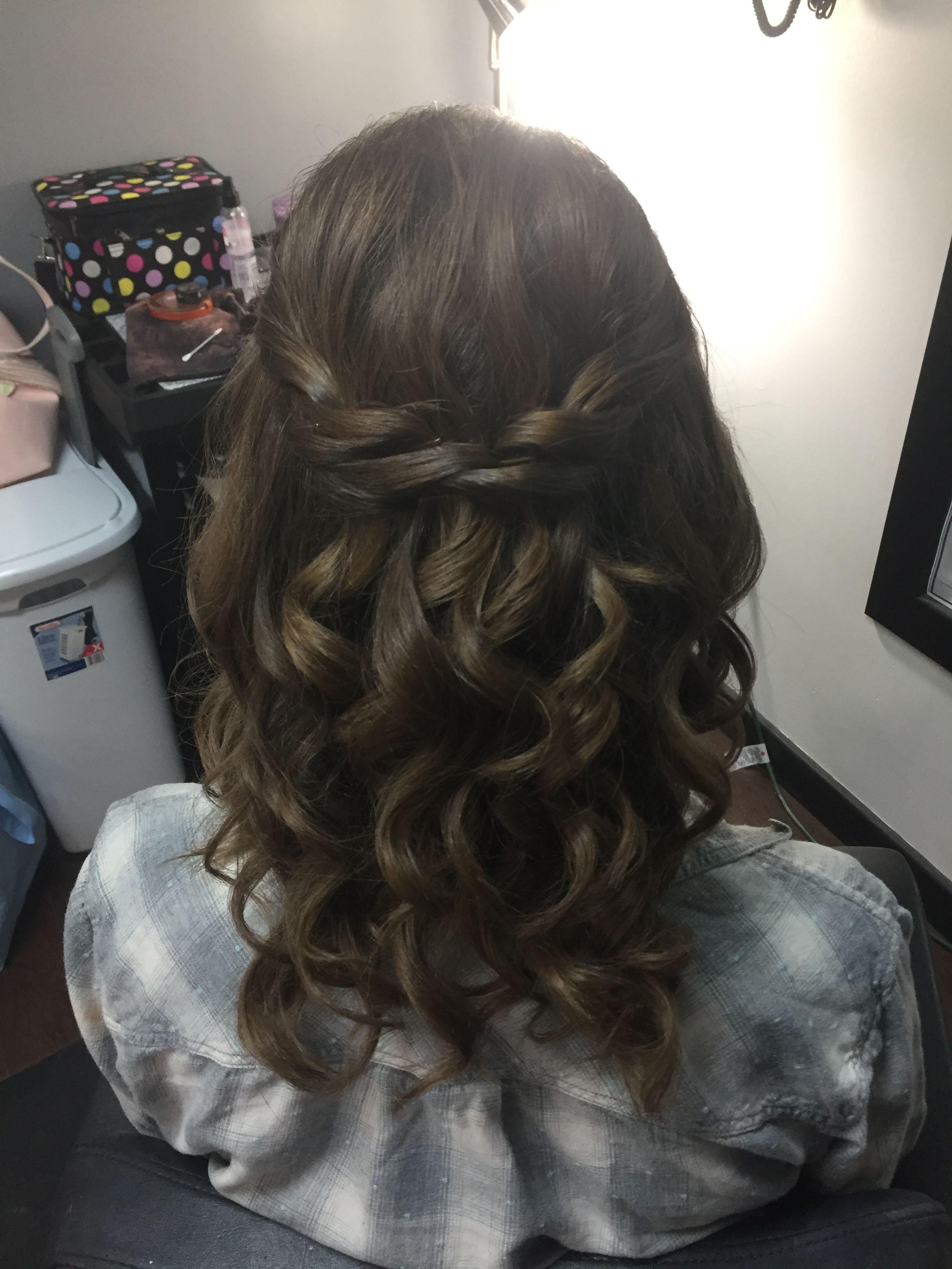 prom hair half up half down brunette hair braid curls updo