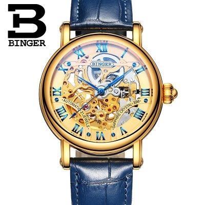 (66.44$)  Watch now  - Binger Vintage Fashion Skeleton Men Watch Man Hollow Leather Automatic Wristwatch Excellent Quality Luxury Watch Montre Femme