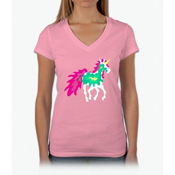 Splattered Unicorn Womens V-Neck T-Shirt