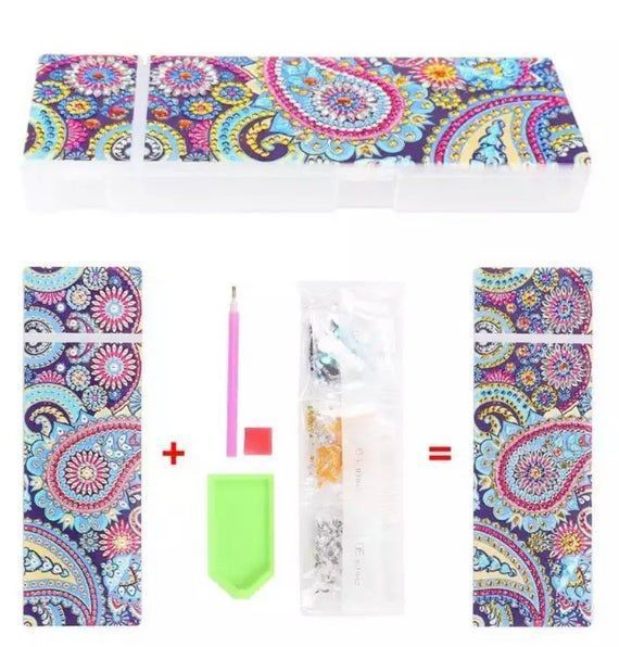 Paisley Mandala One Diamond Painting Kit DIY Pencil Box Holds Diamond Painting Pens and Glue. Fast