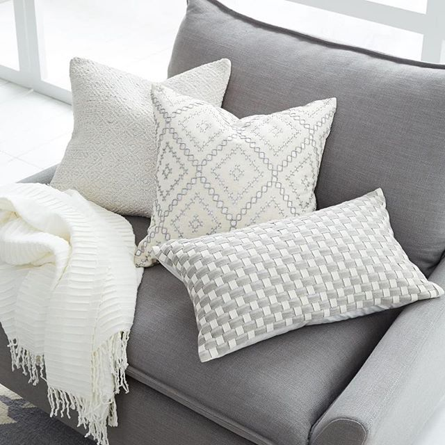 At Home With Abby On Instagram These Westelmlondon Cushions Are Just Perfect Grey Pillows White Pillows Dark Grey Couches