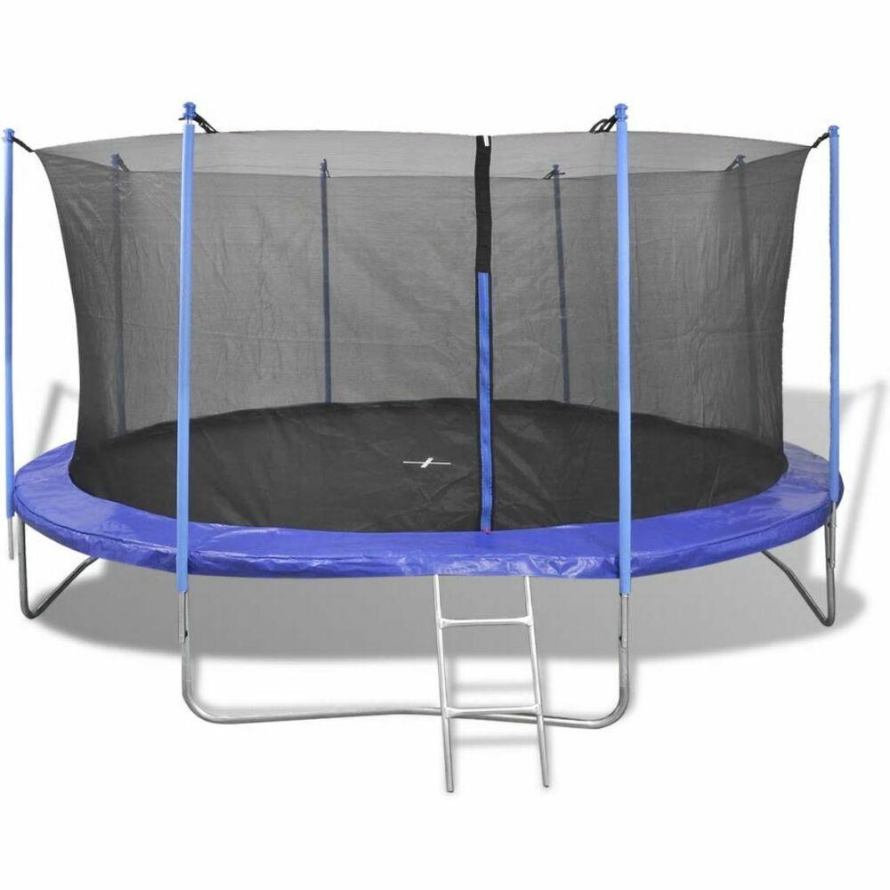 Vidaxl Garten Trampolin Komplettset Sicherheitsnetz Leiter Regenabdeckung A366m Trampoline Backyard Trampoline In Ground Trampoline