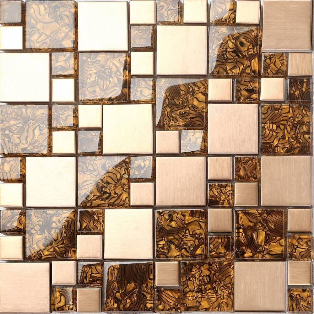 Metallic Mix Brushed Steel Gold Bronze Glass Mosaic Wall Tiles Sheets Mt0087 In Home Furniture Diy Diy Materials Flooring Tiles Ebay