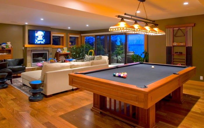 Modern Living Room With Billiard Table Waterfront Homes House